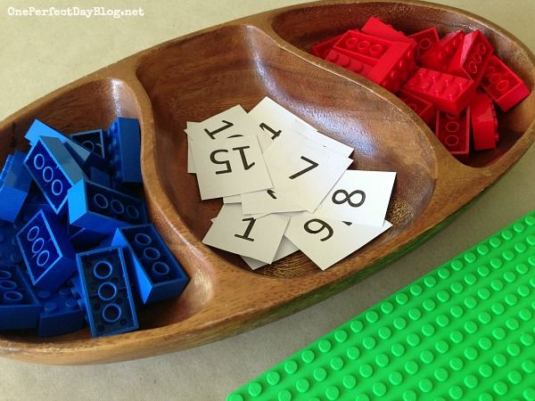 Lego Math Game {Greater Than or Less Than} | One Perfect Day