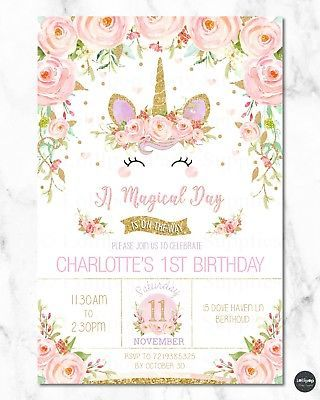 8x UNICORN INVITATIONS GIRLS 1ST FIRST BIRTHDAY PARTY RAINBOW FLORAL ANY AGE In 2018