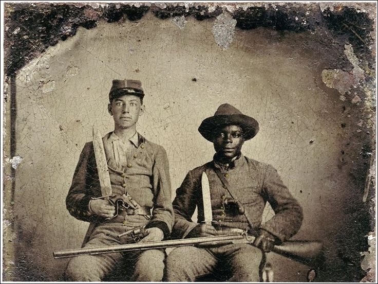 Tintype . . . In the Civil War, Andrew Chandler, white, joined & was accompanied by Silas Chandler, black, who regularly returned to the plantation to fetch supplies. Andrew was wounded in the leg. Army doctors wanted to amputate his leg. Silas pleaded with the doctors not to cut off the young man's leg. Silas carried Andrew to the nearest railhead, placed him in a box car to Atlanta. Doctors saved Andrew's leg, though he was lame for the rest of his life. The families were & are friends.
