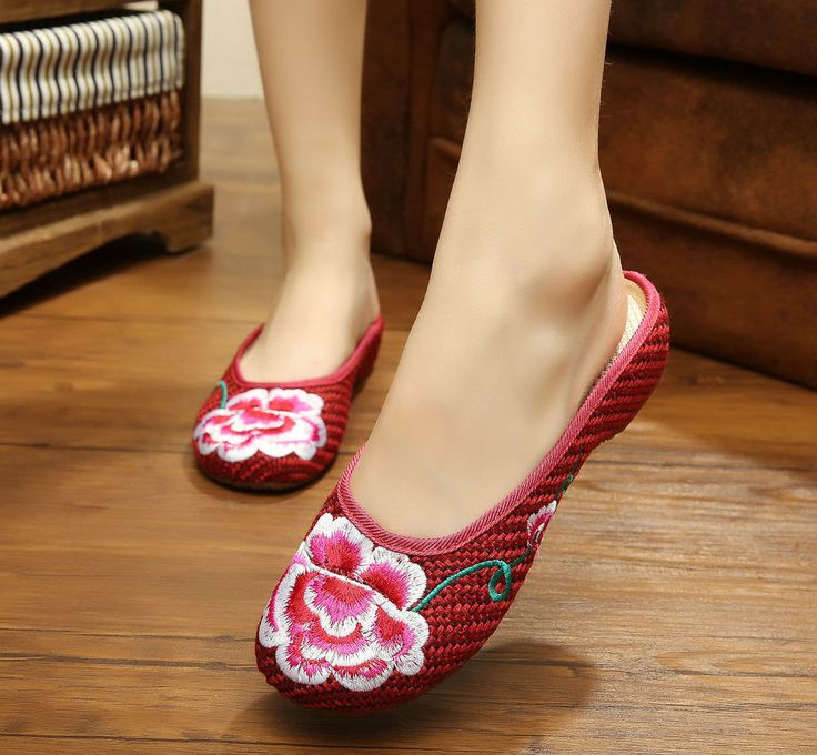 Women Casual Chinese Embroidered Flower Floral Slippers Loafer Linen Shoes XZ097 #Nibox #LoafersMoccasins #Casual