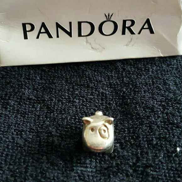 Pandora dog charm Adorable dog with patch over eye,  in sterling silver. Pandora Jewelry Bracelets
