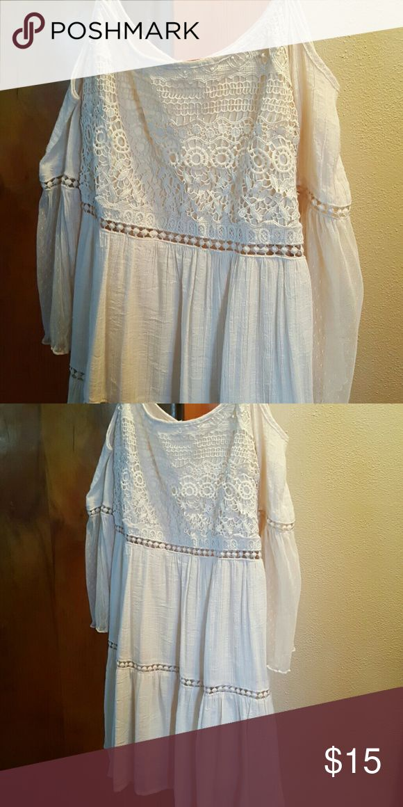 Cream colored off shoulder dress Perfect country concert dress! Worn once! So adorable on! Love this dress Dresses Mini