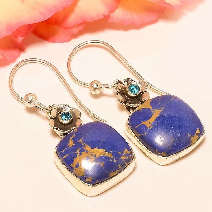 "Copper Blue Turquoise, Blue Topaz 925 Sterling Silver Jewelry Earring 1.58"" #Handmade #DropDangle"