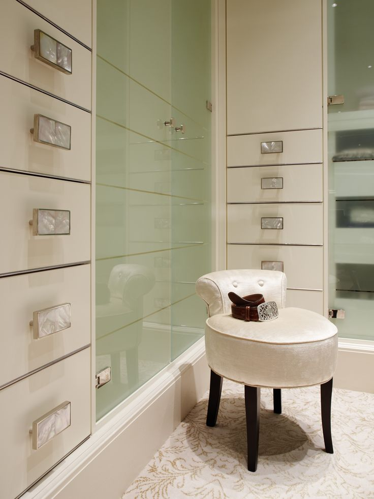 Cabinet handles in nickel with Mother of Pearl inserts. Interior by Joanna Trading