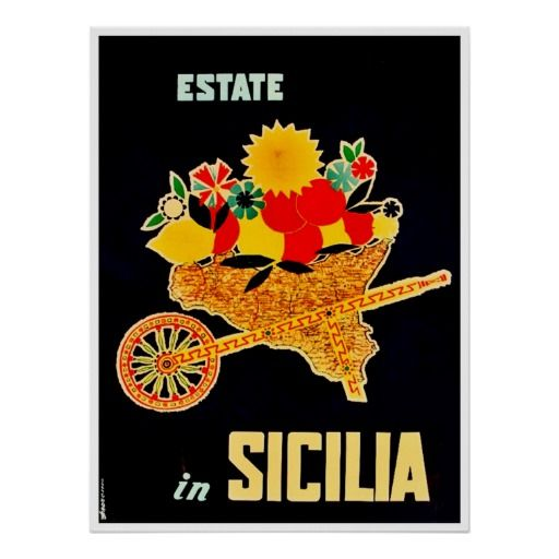 Sicily, Italy, Vintage Travel Poster.