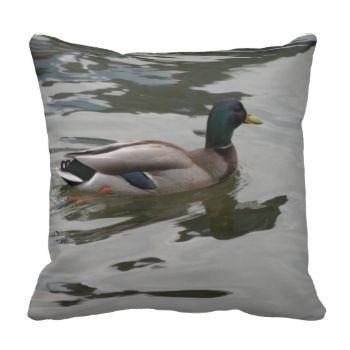 Pillow featuring a photograph of a mallard taken in April 2011 in Washington DC #pillow #animal #throw #pillow #mallard duck