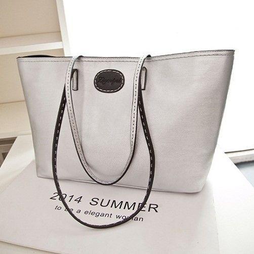 "@cs.ordersis's photo: ""Handbag : C675 SILVER ""Material:  PU Leather Height:  27cm Length:  48cm Depth:  12cm Bag Mouth:  Zipper Long Strap:  Yes  Weight:  800g"" Rp169,000  #handbag #bag #tas #ordersis"""