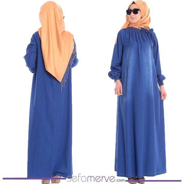 Lastikli Kot Elbise 0558-01 Mavi  #sefamerve #tesetturgiyim #tesettur #hijab #tesettür