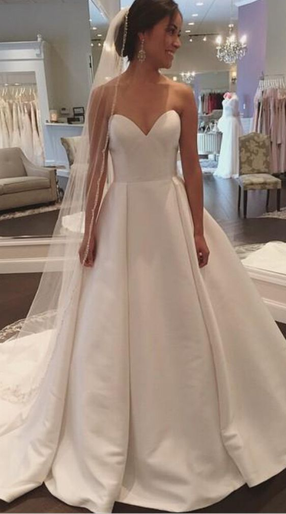 Best 25 satin wedding dresses ideas on pinterest satin for White simple wedding dress
