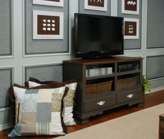 dresser redo-tv: Wall Colors, Old Dressers, Brown Colors, Tv Consoles, Colors Schemes, Tv Stands, Accent Colors, Diy Dressers, Entertainment Center