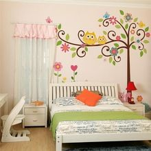 cute wise owls tree wall stickers for kids room decorations nursery cartoon children decals animals mural arts flowers colorful(China (Mainland))