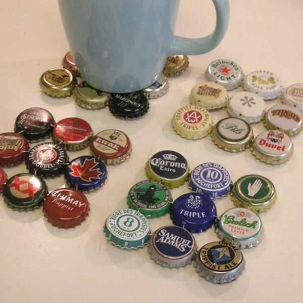 Bottle caps coaster - tjis site has loads of awesome ideas for bottle tops!