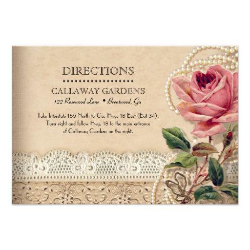 Vintage Rose Wedding Directions Card