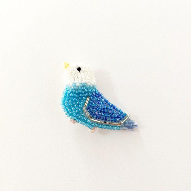 幸せの青い鳥さんブローチ