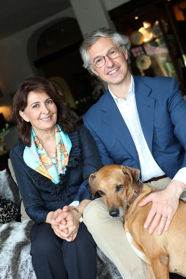 """Edmondo e Alessandra Segre with their beloved Rhea.  """"La Meridiana"""" has been awarded as one of the best pet-friendly Resorts in Italy."""