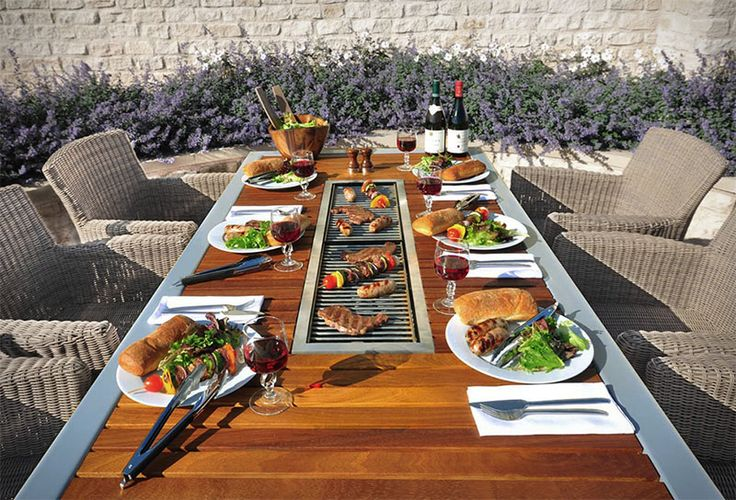 This Outdoor Table Has A Built-In BBQ Grill