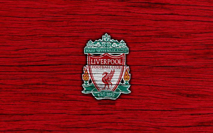 Download wallpapers Liverpool, 4k, Premier League, logo, England, wooden texture, FC Liverpool, soccer, football, Liverpool FC