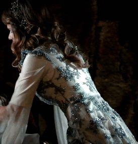 Telli Humasha's white dress w/blue lace, 2x29... - Magnificent Wardrobe