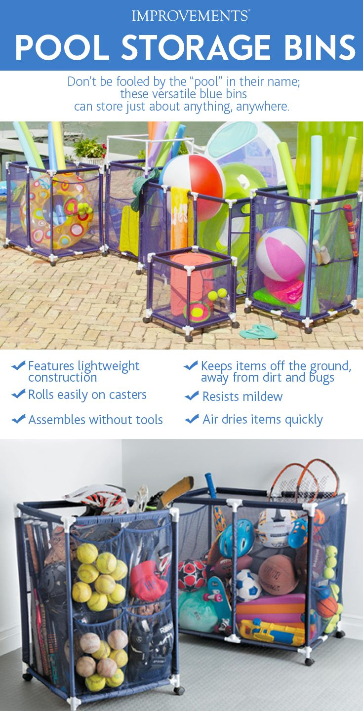 Put the kibosh on poolside clutter with these mesh storage bins. Those looking for pool storage ideas will love the fact that they quickly assemble without tools, easily roll where you need them, and feature locking casters to keep each unit in place. Available in 5 styles to hold swim goggles, beach balls, rafts, floats, pool noodles, and other pool toys. Each pool storage bin has reinforced cross bars at the bottom to keep pool toys up off the ground.