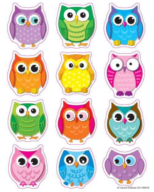 Complete your owl-themed classroom with these colorful shape stickers that you…