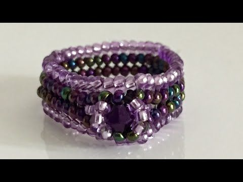 Herringbone stitch Ring ( The Heart beading). Herringbone yüzük yapımı - YouTube
