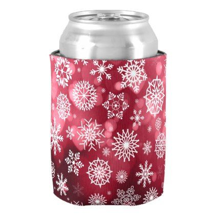 Snowflakes on a Valentine Background Can Cooler - valentines day gifts love couple diy personalize for her for him girlfriend boyfriend