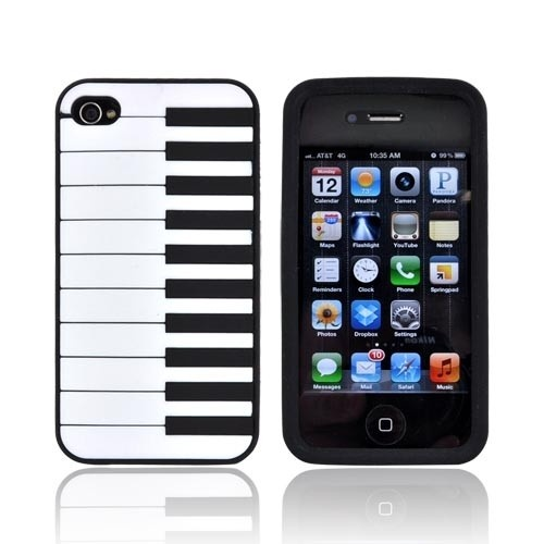 Piano Style Silicone Skin Case Cover For IPhone 4