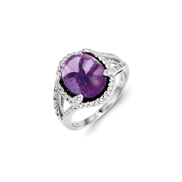 Sterling Silver Amethyst and Diamond Ring. Carat Wt- 0.04ct. Gem Wt- 4.09ct. Solid 925 Stamped Sterling Silver. Dimensions: 14.33MM long x 13.4MM wide. Genuine Amethyst Gemstone (Heat Treated). Certificate of Authenticity Card Included.