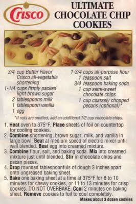 Dying for Chocolate: Retro Crisco Chocolate Chip Cookies.   Reduce sugar to 3/4 cup even less