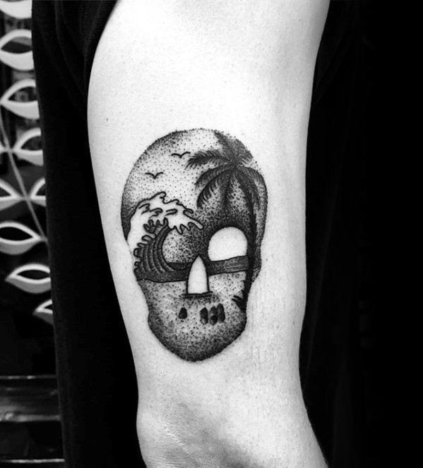 40 Small Beach Tattoos For Men Seashore Design Ideas Arm