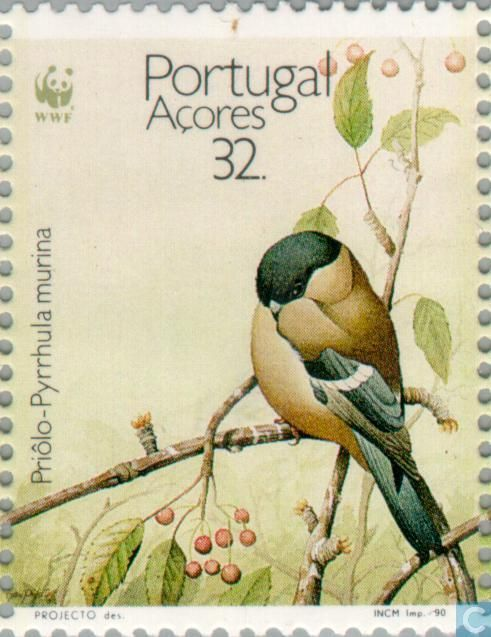 Portugal Stamp 1990 - Azores - WWF-Azores Bullfinch