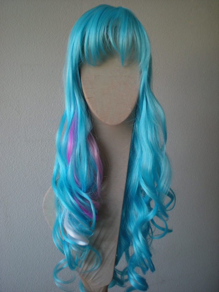 SALE// Light blue wig.  Cosplay wig. Long  wig. long blue wig. Curly wig. Pink, Lavender and White Highlights wig. Color wig... $65.95, via Etsy.