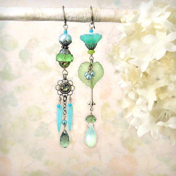 Mojito - Mint Lime Chartreuse Green Dangle Earrings, Asymmetrical Earrings, Czech Glass Swarovski, Misty Aqua Seafoam Spring Summer Bohemian...