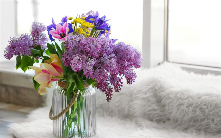 Download wallpapers lilac, spring bouquet, tulips, vase with flowers, spring floral decoration
