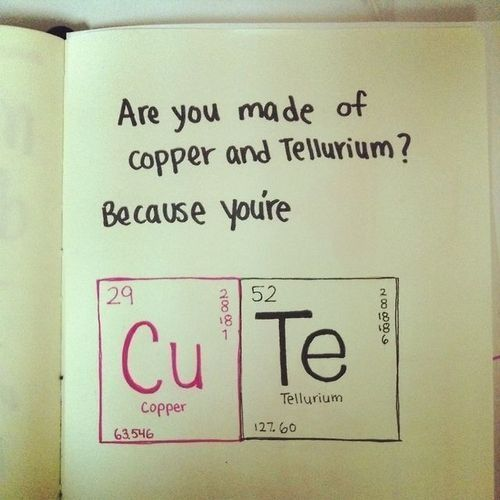 copper & tellurium = CuTe! Pair this nerdy valentine with the book, 14 Days of Foreplay for a saucy little gift. www.14daysforeplay.com