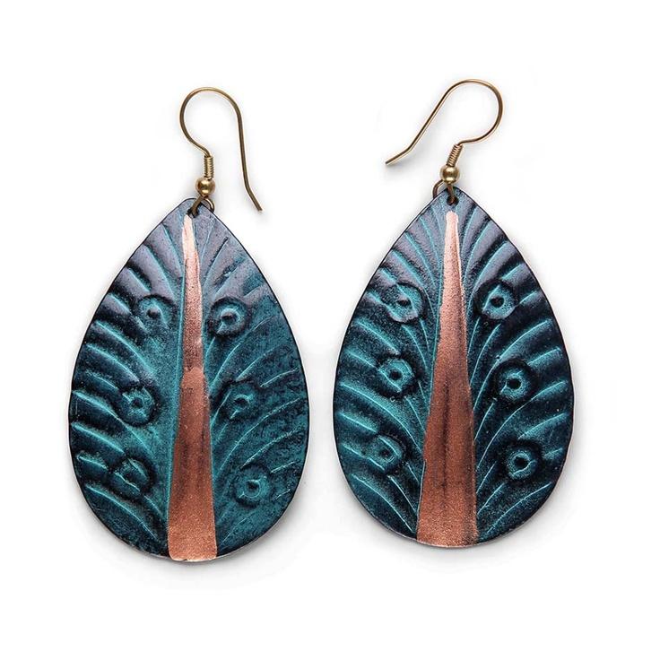 Patina Peacock Earrings - Oxfam Shop <3