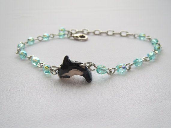 Glacier  Orca Killer Whale  Charm Bracelet Blue Beads  by Thielen, $17.95