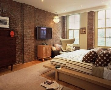 Bedroom Photos Exposed Brick Design, Pictures, Remodel, Decor and Ideas - page 3