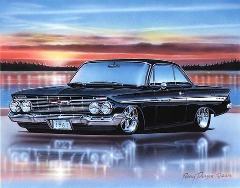 1961 chevy impala 2 door hardtop classic car art print black 11x14 rh pinterest com