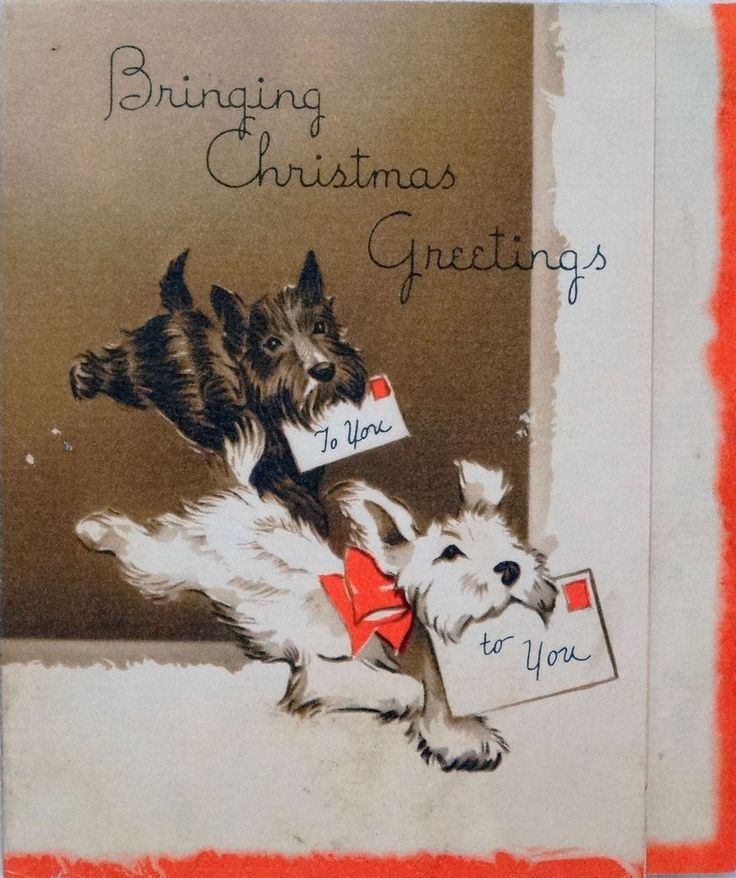 #633 30s Running Scottie Dogs- Vintage Christmas Card-Greeting