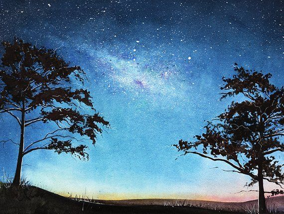 Space Painting Watercolor Landscape Art Print Aurora Borealis Galaxy Painting Tree Art Tree Silhouette Nightscape Night Sky In 2020 Watercolor Night Sky Watercolor Landscape Galaxy Painting