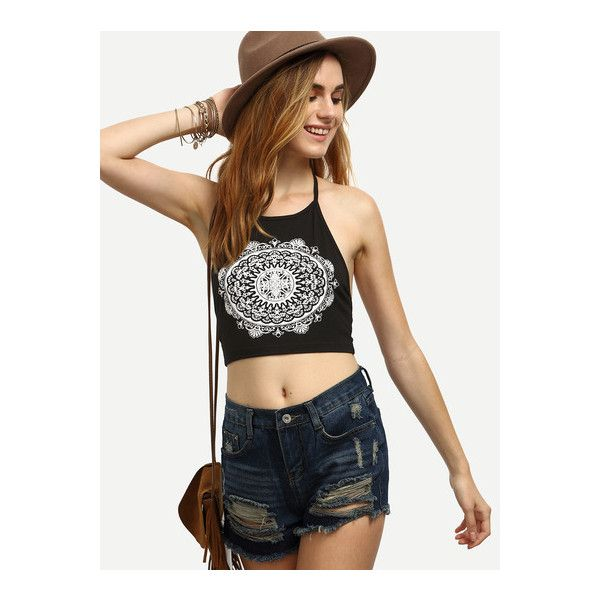 SheIn(sheinside) Black and White Print Halter Backless Crop Top ($6.99) ❤ liked on Polyvore featuring tops, black, cotton crop top, cotton camisole tops, backless crop top, halter crop top and cami tops