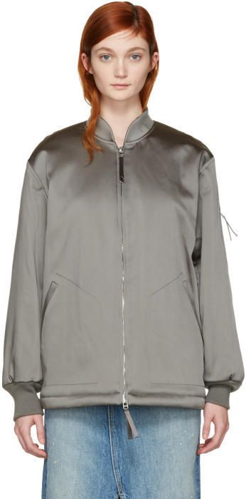 Alexander Wang Grey Nylon Bomber Jacket