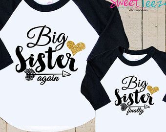 Bigger Sister Shirt SET Big Sister Pink Swirly by SweetTeezLLC