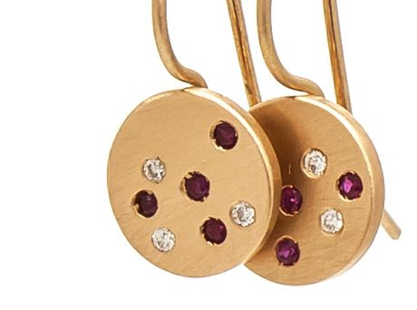 Coloured Speckles earrings by Amy Renshaw  (18ct yellow gold, rubies, diamonds)