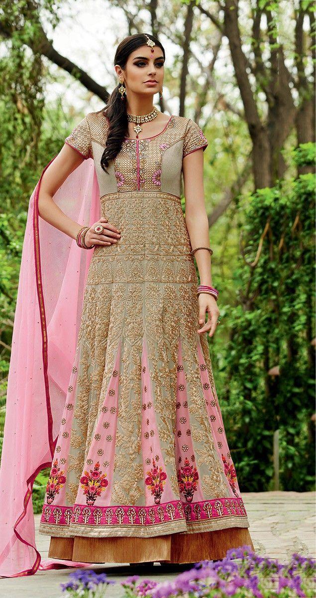 Georgette Resham Work Beige & Pink Semi Stitched Long Anarkali Suit - M104