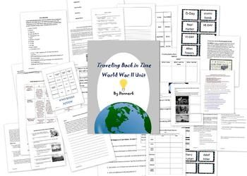 HUGE WWII unit for upper primary/middle. review game, test, quiz, study guide, worksheets, writing integrations word wall cards, center activity, and powerpoint. WOW!