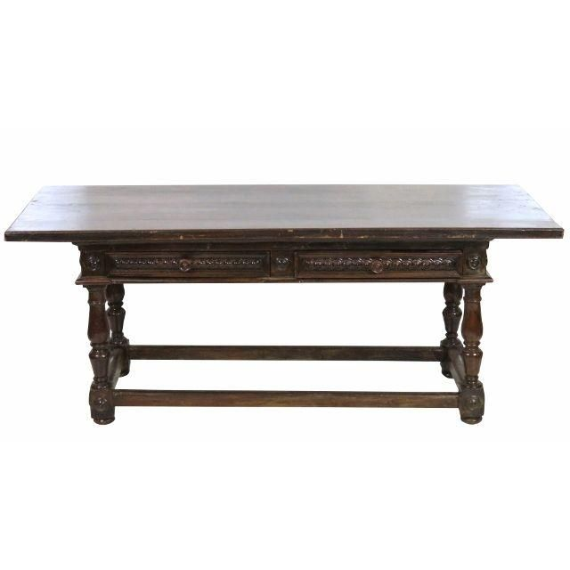 Good Antique 18th C. Continental Carved Library Table