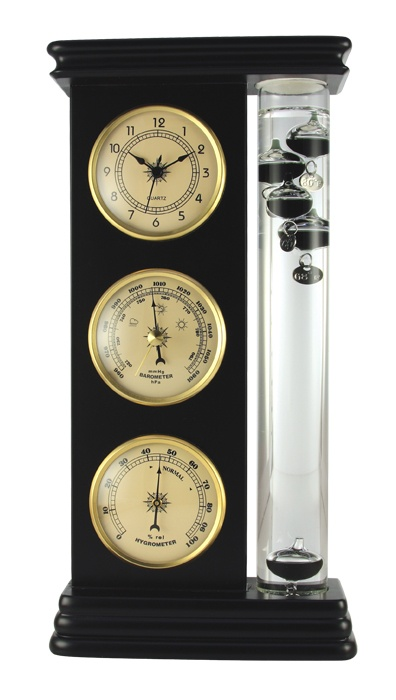 Check out this Galileo Thermometer! It also features a clock, hydrometer and barometer - in addition to the unique thermometer based on the work of Galileo Galilei!