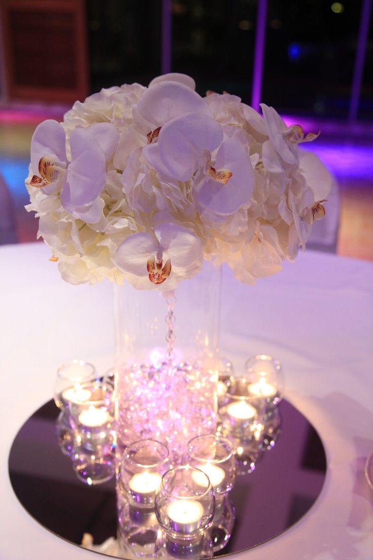 Wedding Centrepiece With Hydrangea And Orchids Wedding